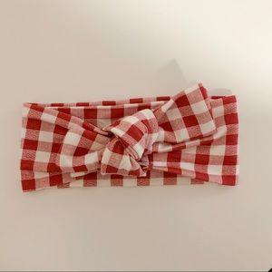 Brick gingham SpearmintLOVE knot bow